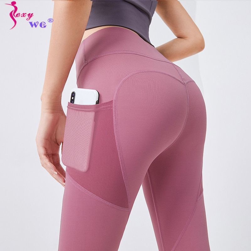 SEXYWG Women Pocket Tight Yoga Pants Leggings Ladies Sports Leggings Running Legging Fitness Pant High Waist Gym Sportswear