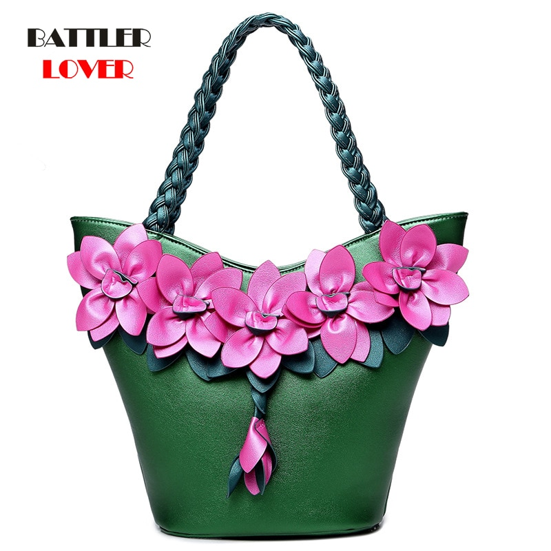 Bolsas de Alta Bolsa de Ombro Moda Feminina Flor Qualidade Couro Fresco Compras Feminino Tote Senhoras