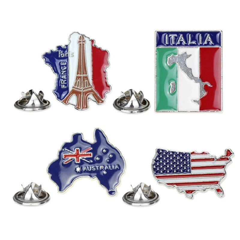 América Italia Austria Francia mapa broche y esmalte Pin París Torre Eiffel italiano Australia patriótico americano Pin para solapa con insignia