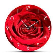 Horloge murale avec impression de fleurs de Rose rouge   Personnalisé, nom personnalisé, horloge florale moderne pour chambre à coucher, cadeau personnalisé pour son horloge murale, horloge artistique botanique