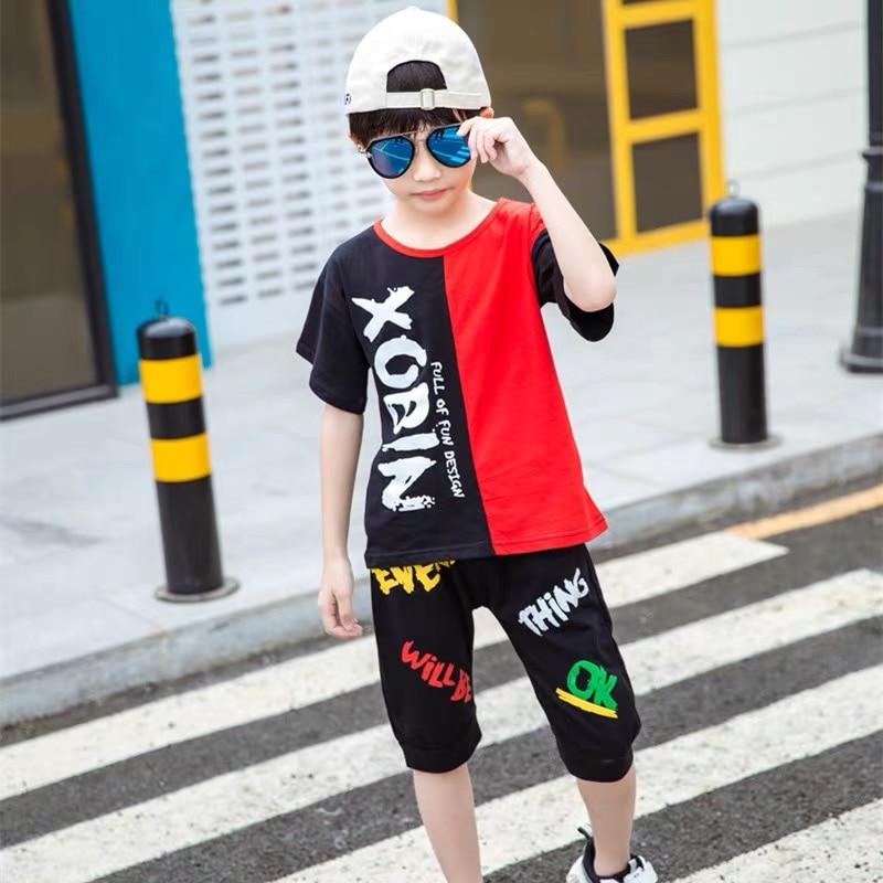 Verano de 2020 conjuntos de ropa para niños de manga corta Camiseta + Pantalones 2 piezas niños ropa de bebé niños trajes 3 4 5 6 7 8 9 10 años