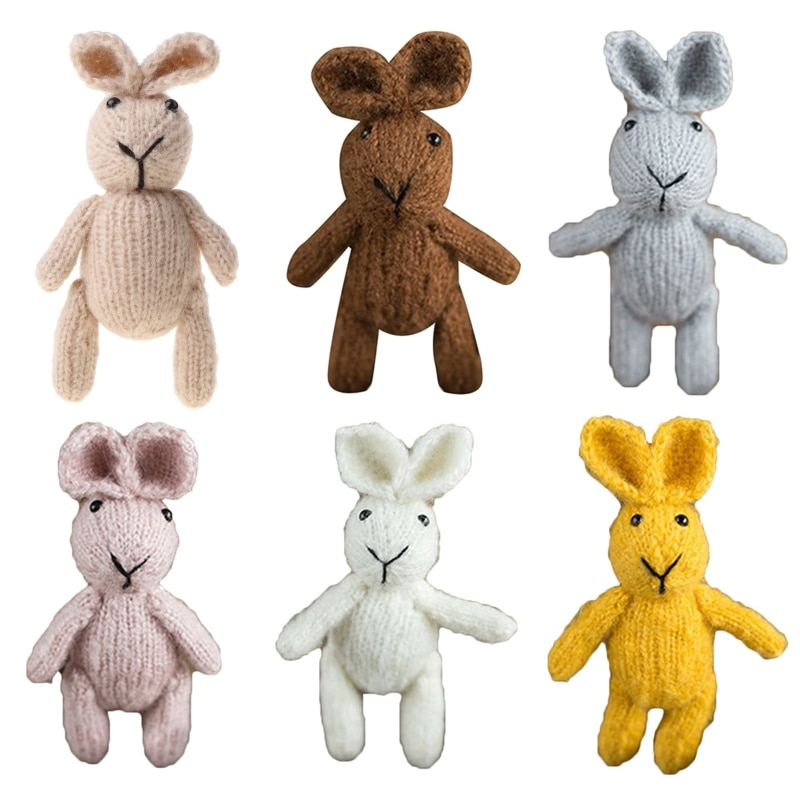 Newborn Baby Photography Props Cute Crochet Knitted Rabbit Doll Toy Handmade Infants Photo Shooting