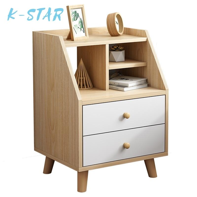 Кровати из массива дерева JOYLIVE, экономичный прикроватный шкаф в скандинавском стиле, маленькие шкафчики, креативная Многофункциональная сп...