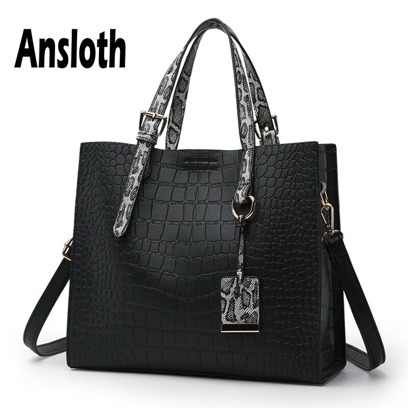 Ansloth Crocodile Pattern Luxury Handbags Women Bags Designer Serpentine Top-Handle Bag PU Leather Shoulder Bag Crossbody HPS170