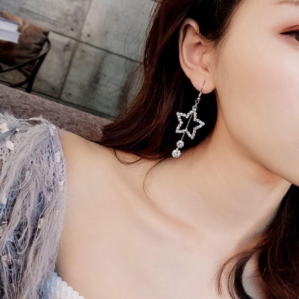 Women Fashion Elegant Hook Earrings Charm Jewelry Accessories Sparkling Hollow Star Rhinestone Drop Earring Ball Dangler