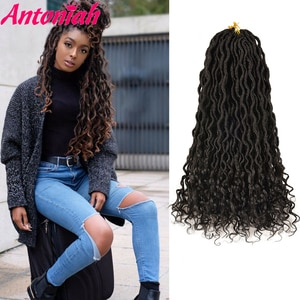 Antoniah 1b Hair Soft Crochet Hair Braids 18 Inch Faux Locs Curly Synthetic Hair Pre Loop Crochet Braiding Hair 24strands/pack