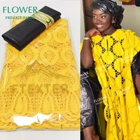 yellow and black embroidered swiss voile lace in switzerland and bazin riche fabric for guinea elegant women wedding dry laces