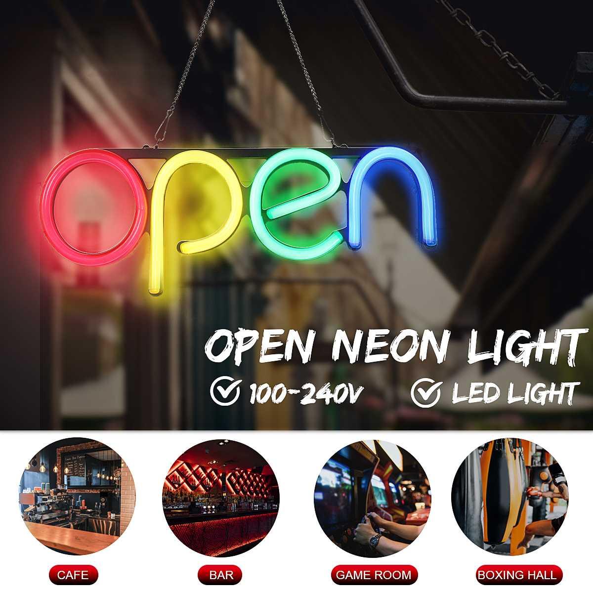 Tubo de neón-bombillas Led-luz colgante de pared letrero abierto de neón tubo LED hecho a mano obra de arte Visual Bar Pub Club decoración de pared Luz