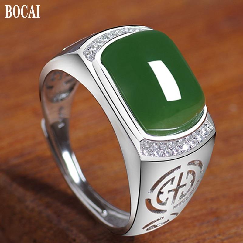 خاتم رجالي حقيقي 100% من جاسبر 2020 جديد S925 فضة نقية ذهب أبيض خاتم زمردي للرجال