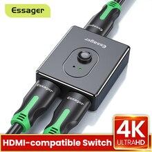 Essager Switch Splitter compatibile HDMI 4K 2.0 Switcher compatibile HDMI 1x2 / 2x1 adattatore convertitore 2 in 1 Out per PS4 HD TV BOX