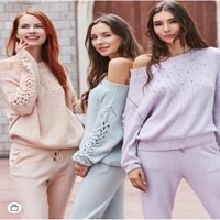 2020 direct selling womens cashmere suit fashion word collar sweater trousers two sets of warm heavy work beaded knit pullover