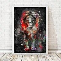 Peinture de diamant 5D de Lion colore  bricolage  broderie danimaux abstraite  mosaique de diamant  tableau dart mural  decor de maison