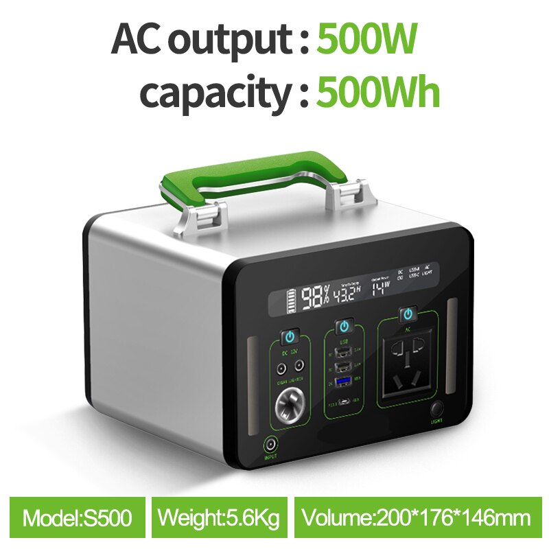 SUGINEO S-Serie Aluminum Big Capacity Power Supply 500W 110V 220V No Noisy/Fan More Safe Less Weight Solar Panel Avaiable