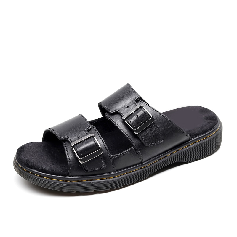 2021 women's leather sandals wear-resistant anti-platform shoes leather ladies slippers flat shoes fashion casual women's shoes