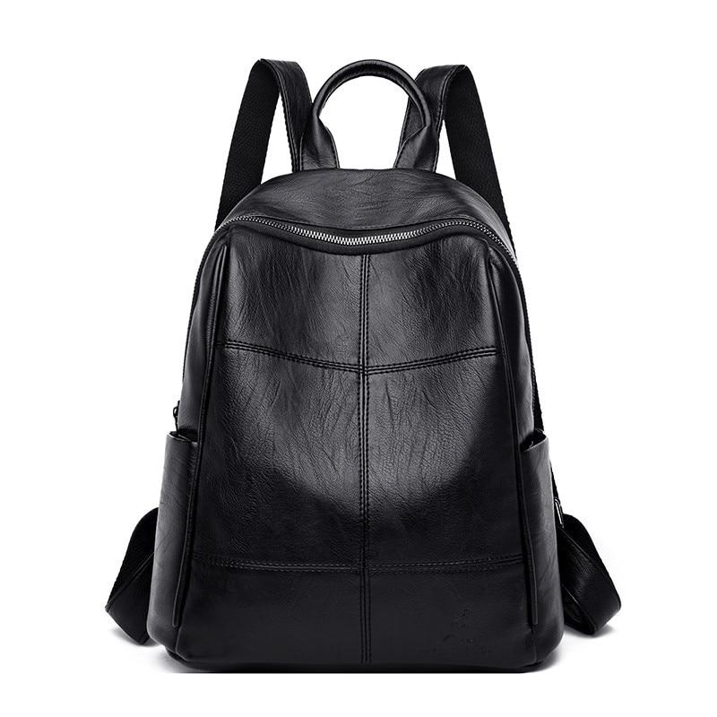 Mochilas sencillas de piel negra para mujer, bolsa de viaje multifunción para Dos A 2019, bolsos de hombro escolares para niñas, Mochila femenina