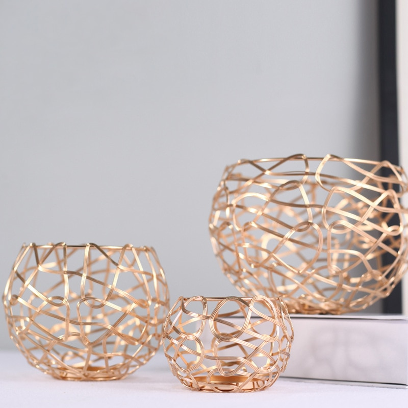3 unids/set de portavelas de hierro geométrico creativo, artesanía nórdica, palmatoria decorativa de boda dorada, adornos para el hogar