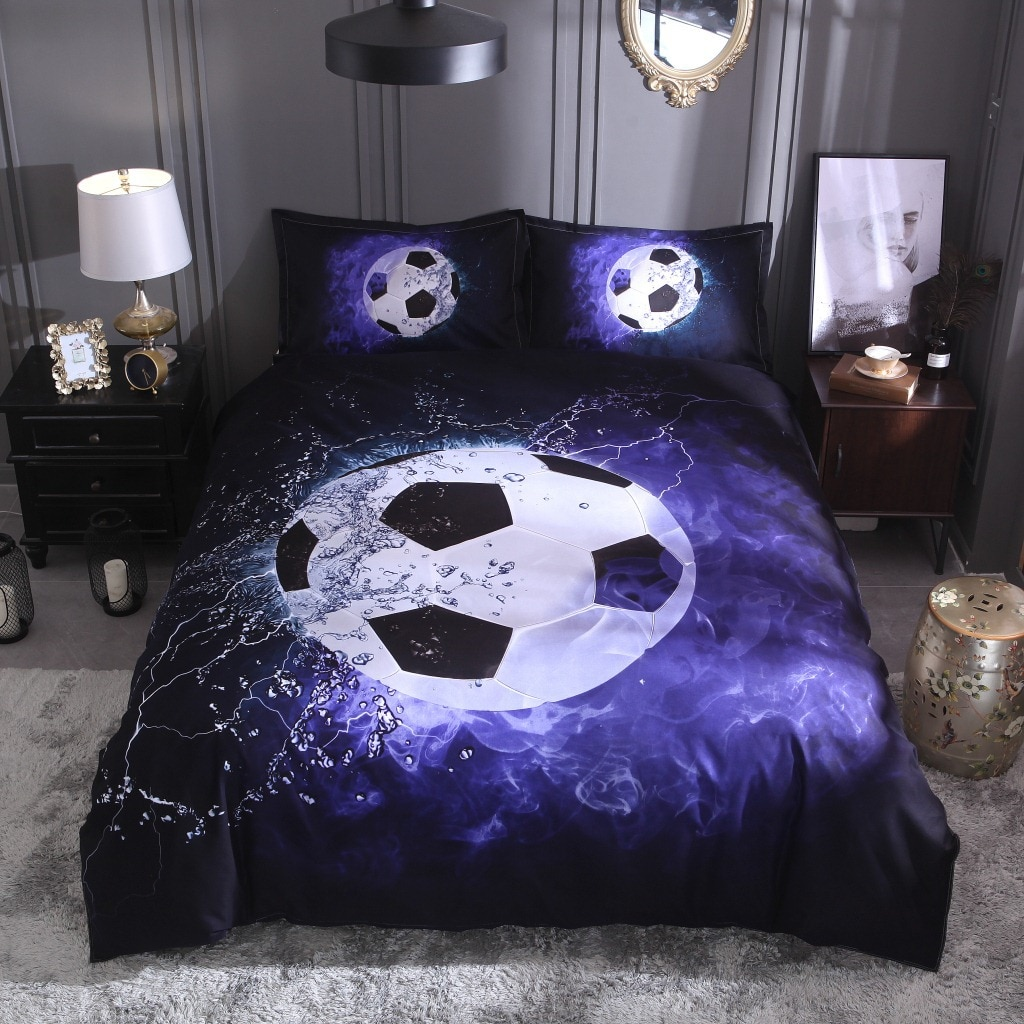 Doble rey súper cama tamaño King hoja almohada casos deportes baloncesto fútbol edredón cubierta 3 piezas conjunto de moda cómodo