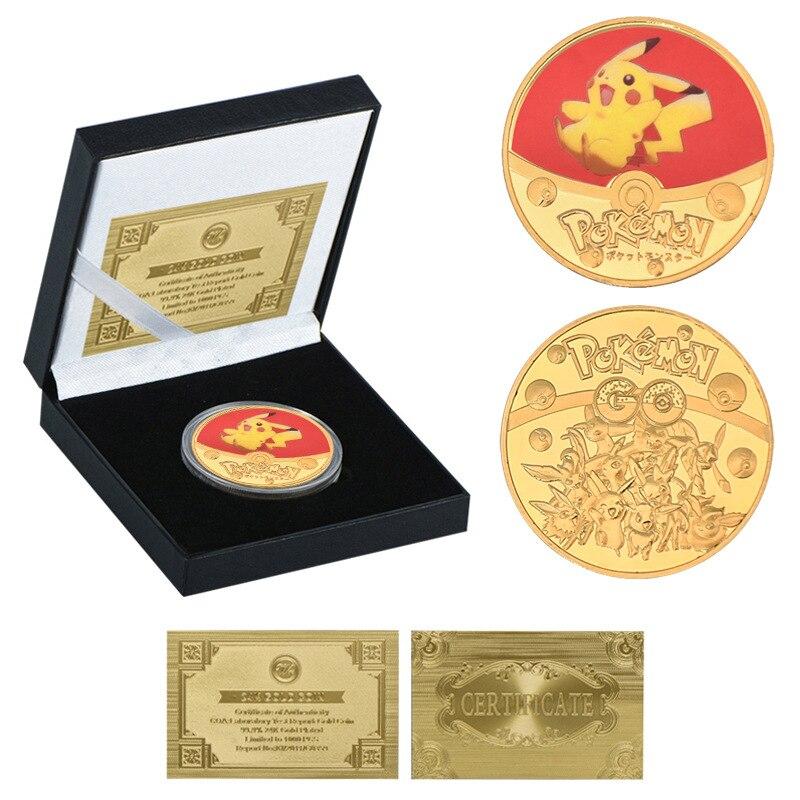 Новинка 2021, позолоченные монеты из аниме «Покемон», памятные монеты с карманом для монет, позолоченные монеты, карты «Покемон», подарок для ...