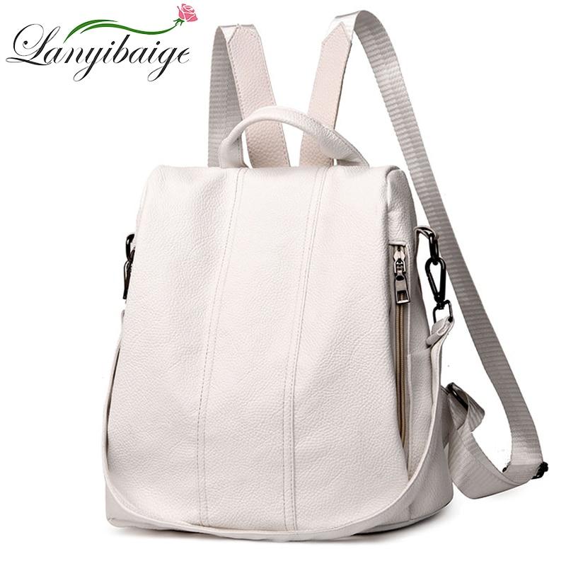 حقيبة ظهر صيفية من جلد البولي يوريثان ، حقيبة مدرسية ذات سعة كبيرة ، مقاومة للسرقة ، غير رسمية ، متعددة الوظائف ، للمراهقين ، بيضاء
