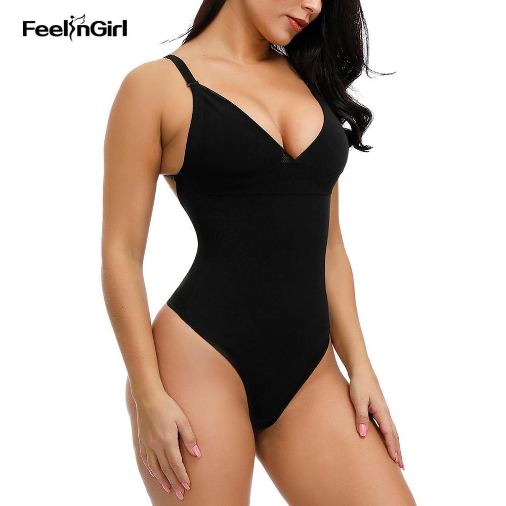 FeelinGirl Body Shaper Wear mujer adelgazante ropa interior Sexy Pad Tanga Bodysuit postparto recuperación transpirable sin costuras Shapewear