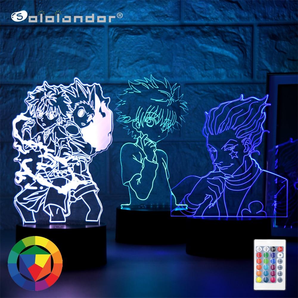 Hisoka Image 3D Vision Night Lamp Hunter x Hunter Japanese Manga Theme LED Novelty Light Xmas Gift for Anime Fans Bedroom Decor