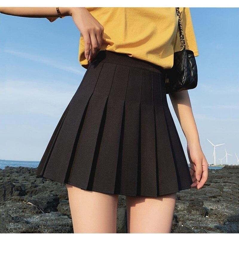 Las nuevas mujeres falda de moda Color sólido alta cintura elástica Mini...