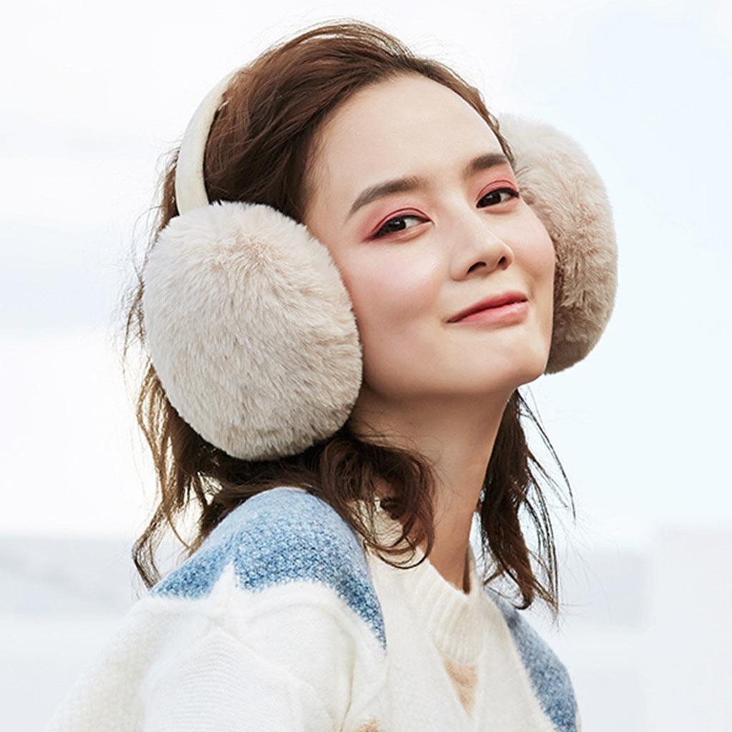 Orejeras de moda para mujer, calentadores de oído de invierno, orejeras calientes de felpa, orejeras bonitas para exteriores, orejeras plegables, accesorios Py4
