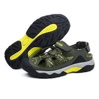 mens sandals breathable beach hiking shoes thick sole closed toe aqua shoes casual for fishing shoes for men slippers