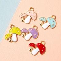 10pcs enamel gold color mushroom charm pendant for jewerly diy making bracelet women necklace earrings accessories findings