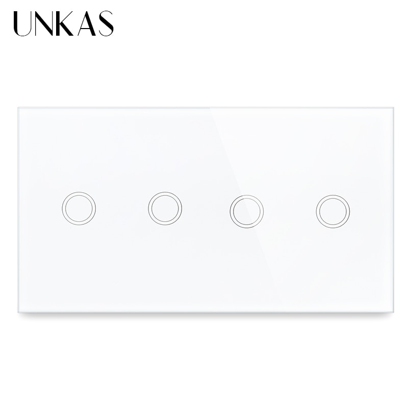 UNKAS 4 عصابة 1 طريقة الاتحاد الأوروبي القياسية Olny اللمس تشغيل/إيقاف وظيفة مفتاح الإضاءة 157 مللي متر الكريستال فئة لوحة 300 واط المزدوج 2 Gnag المخرج