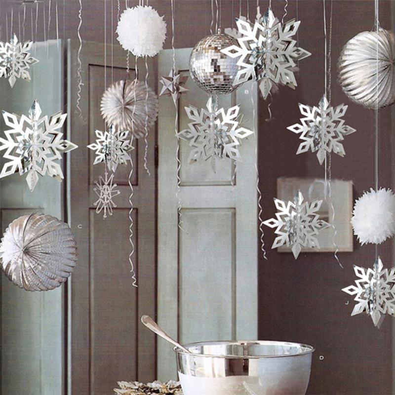 12PCS Christmas Decorations For Home Hanging Snowflake Decorations Christmas String Stereo 3D For Party Christmas Accessories