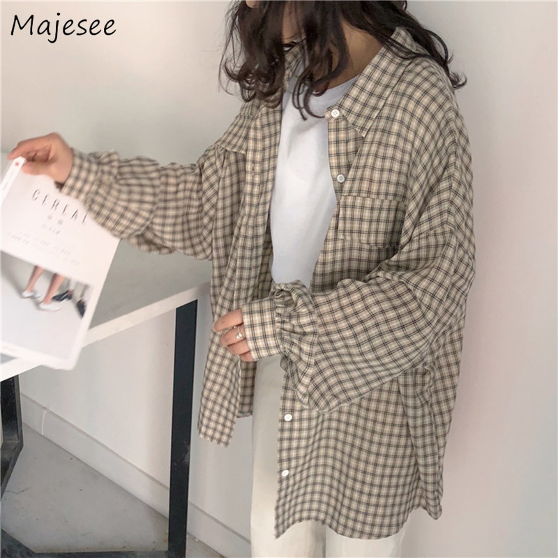 Shirts Women Kawaii Simple Casual Plaid Loose Korean Style Daily All-match Harajuku Cute Student Womens Clothing Fashion Vintage