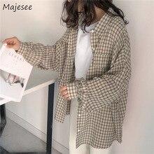Camicie donna Kawaii semplice Casual Plaid allentato stile coreano quotidiano All-match Harajuku carino studente abbigliamento donna moda Vintage