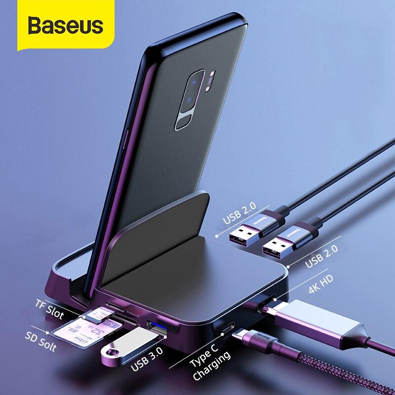 باسيوس 7 في 1 USB C HUB حامل هاتف نوع C محطة الإرساء لهواوي P40 Mate 30 سامسونج S20 S9 إلى USB 3.0 USB HUB نوع C HUB