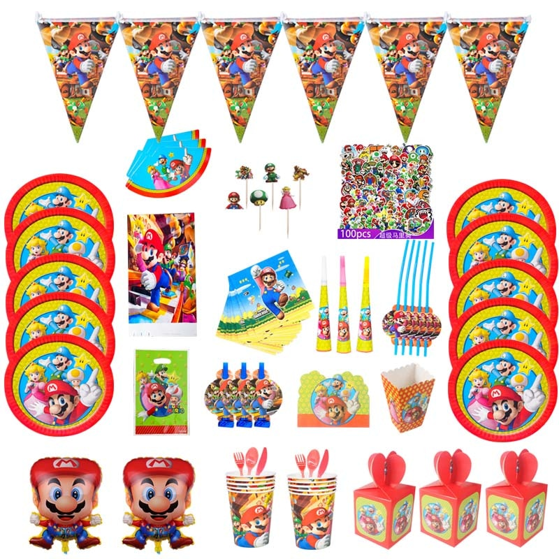 Mario Party Cartoon Characters Themes Disposable Cutlery Sets Napkins Paper Plates For Child Birthday Supplies Party Decor