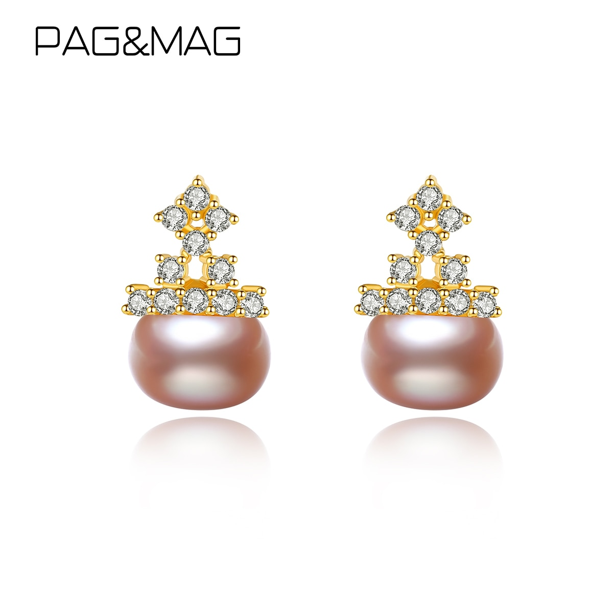 PAG&MAG Cute Oblate Natural Pearls 925 Sterling Silver Drop Earrings For Women Wedding Statement Pea