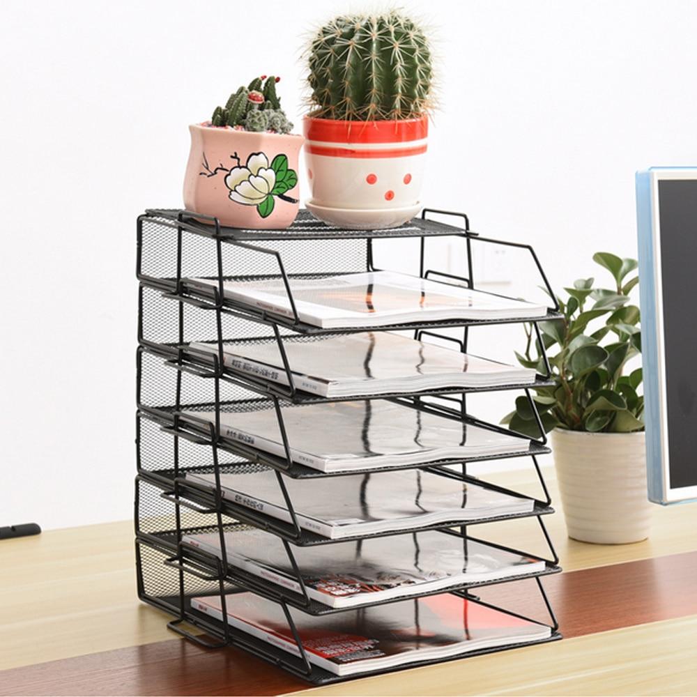 Stackable Iron Mesh A4 Paper Organizer Document File Storage Basket Holder Desktop Office Books Newspapers Magazine Storage Tray