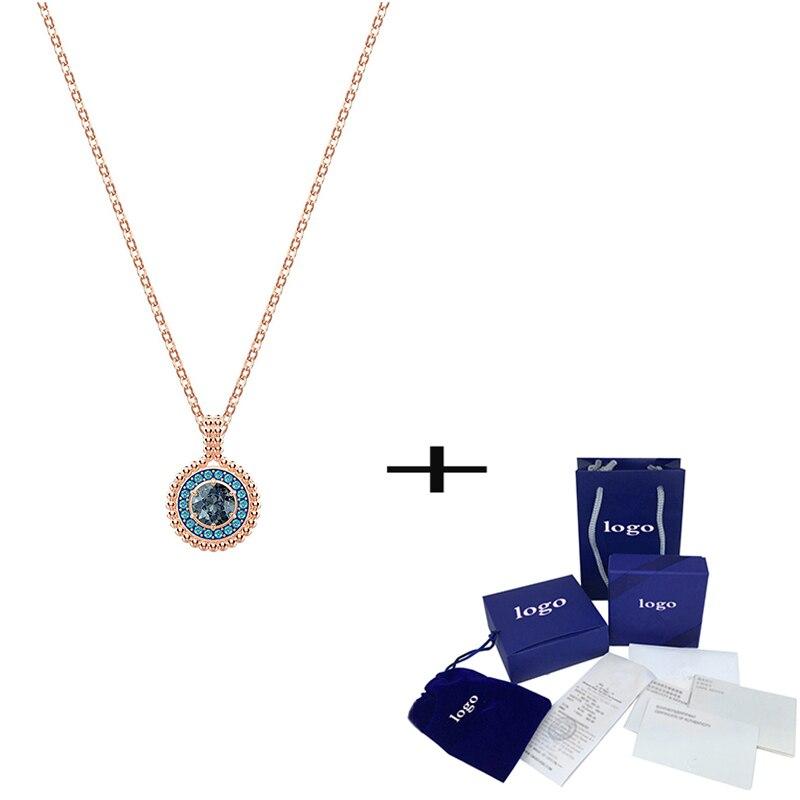 SWA moda nuevo oxígeno redondo Ojo de demonio collar de cristal brillante collar de oro rosa enviar amigos exquisitos regalos de joyería de lujo