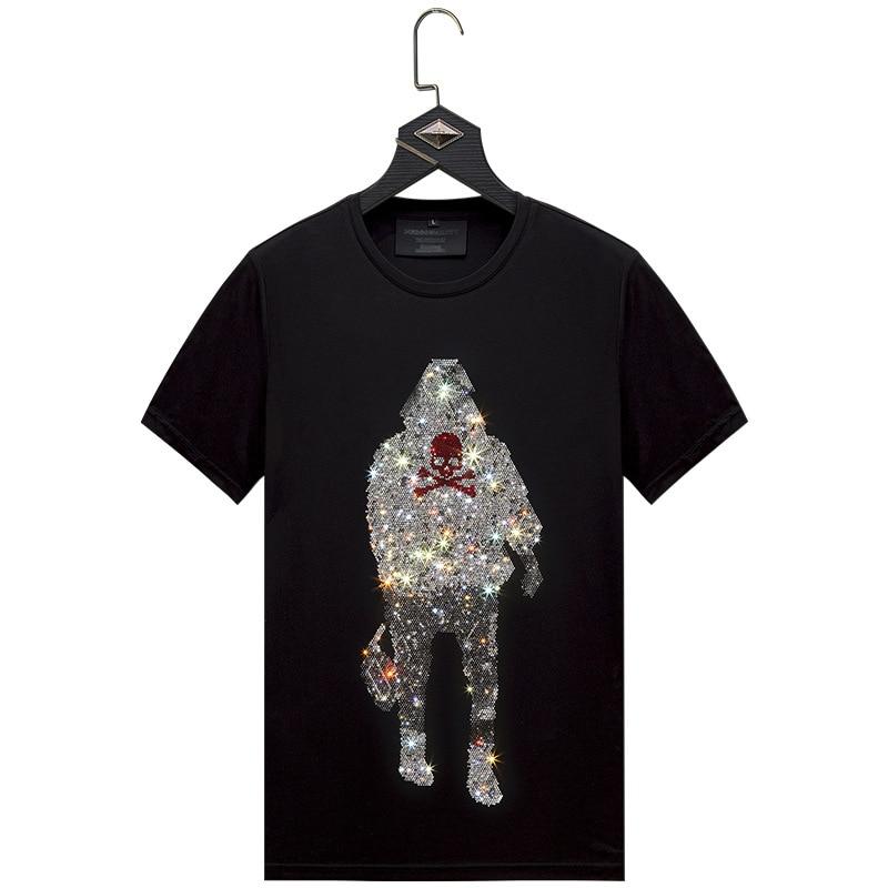 BLack T Shirt Off White Men T Shirt Male Streetwear Slim Men's Short Sleeve Shirt Diamond Inlaid Man's Back Skull Plus Size 6XL