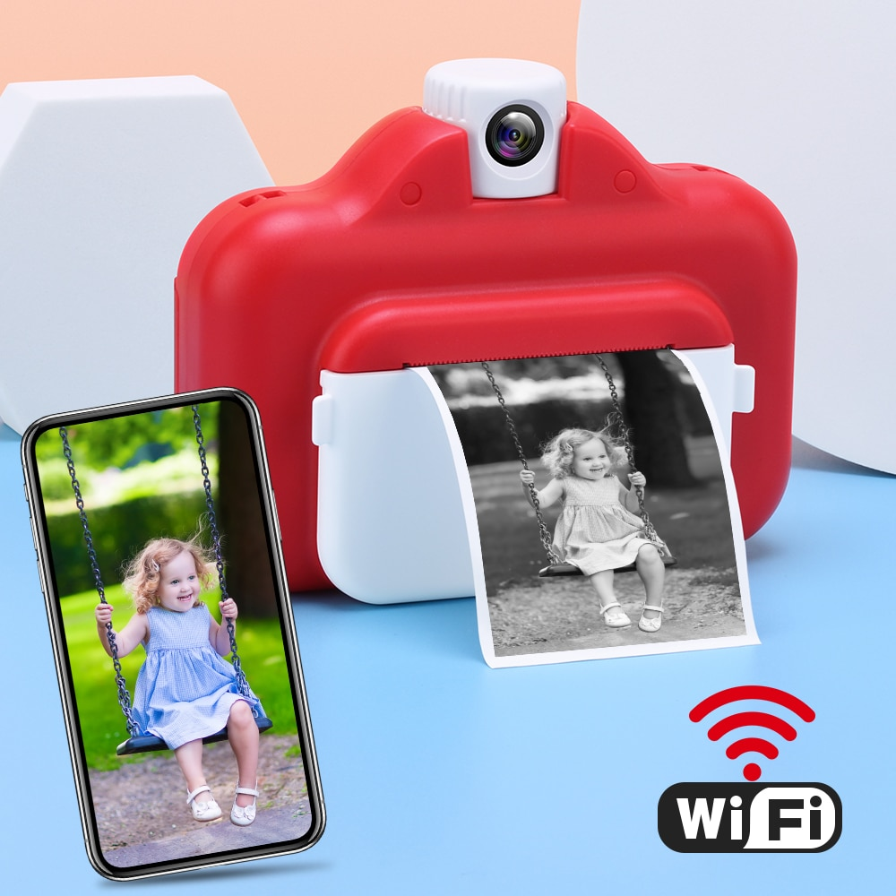 Kids Instant Print Camera Thermal Printer Wireless WIFI Phone Printer 1080P HD Kids Digital Camera Toy for Children