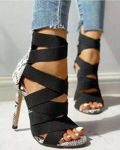 Sansalias Muder Women Lady Pumps Fashion Bandage Patchwork Sandals High Thin Heels Party  Sandalias Back Zipper Shoes Plus Size
