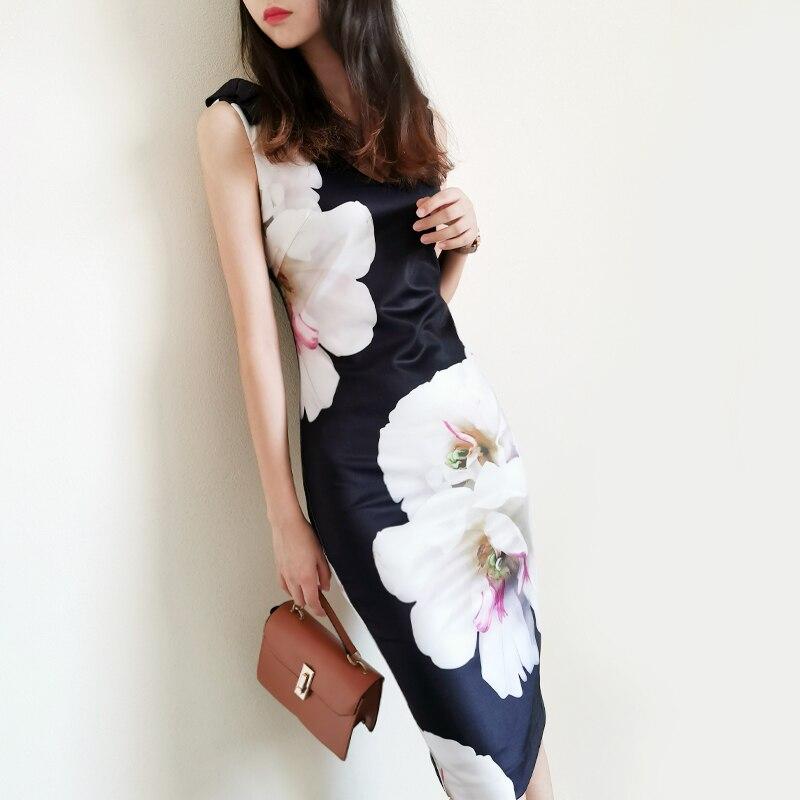 فستان ربيعي أنيق بطبعة زهور ، ضيق ، ياقة على شكل V ، مجموعة خريف 2020 الجديدة ، أزياء المملكة المتحدة