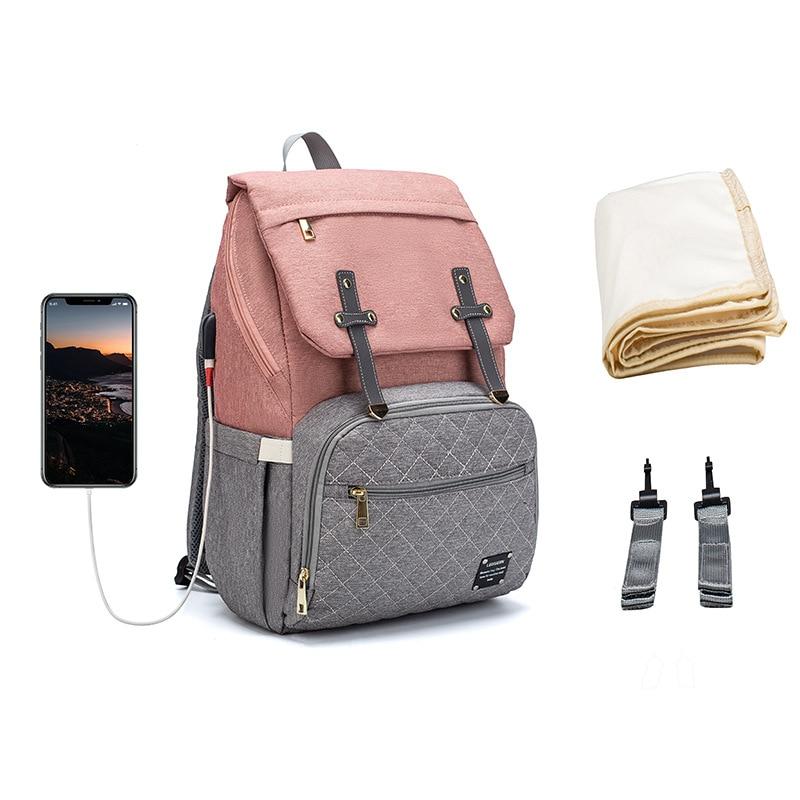 Stitching Color Mummy Diaper Bag Baby Backpack USB Charging Waterproof Women Handbag Maternity Nursing Nappy