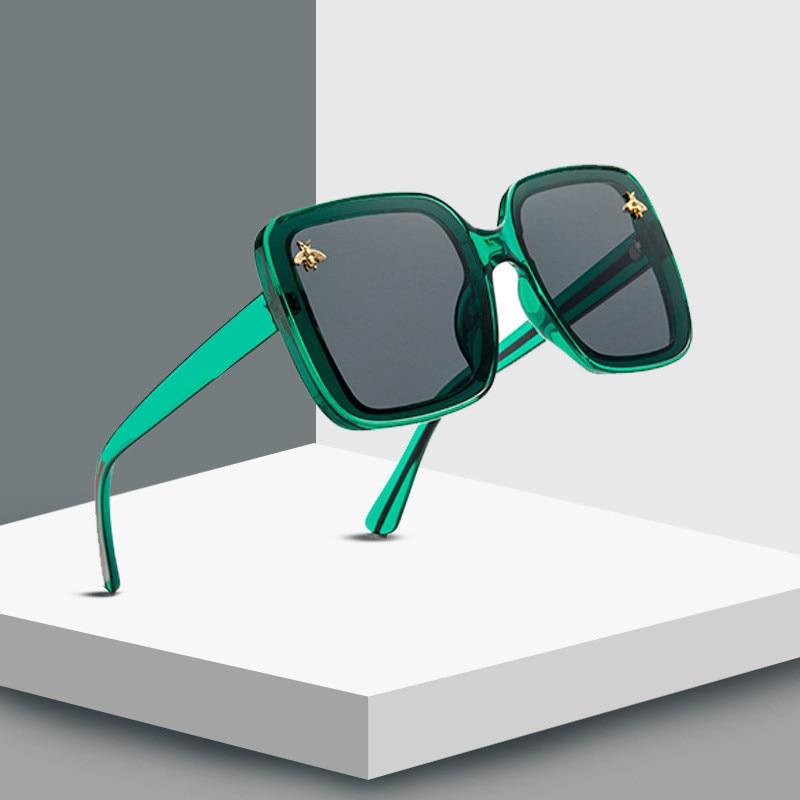 2020 Square Little Bee Fashion Big Box Retro Brand Designer Luxury Sunglasses Vintage Shades Oculos