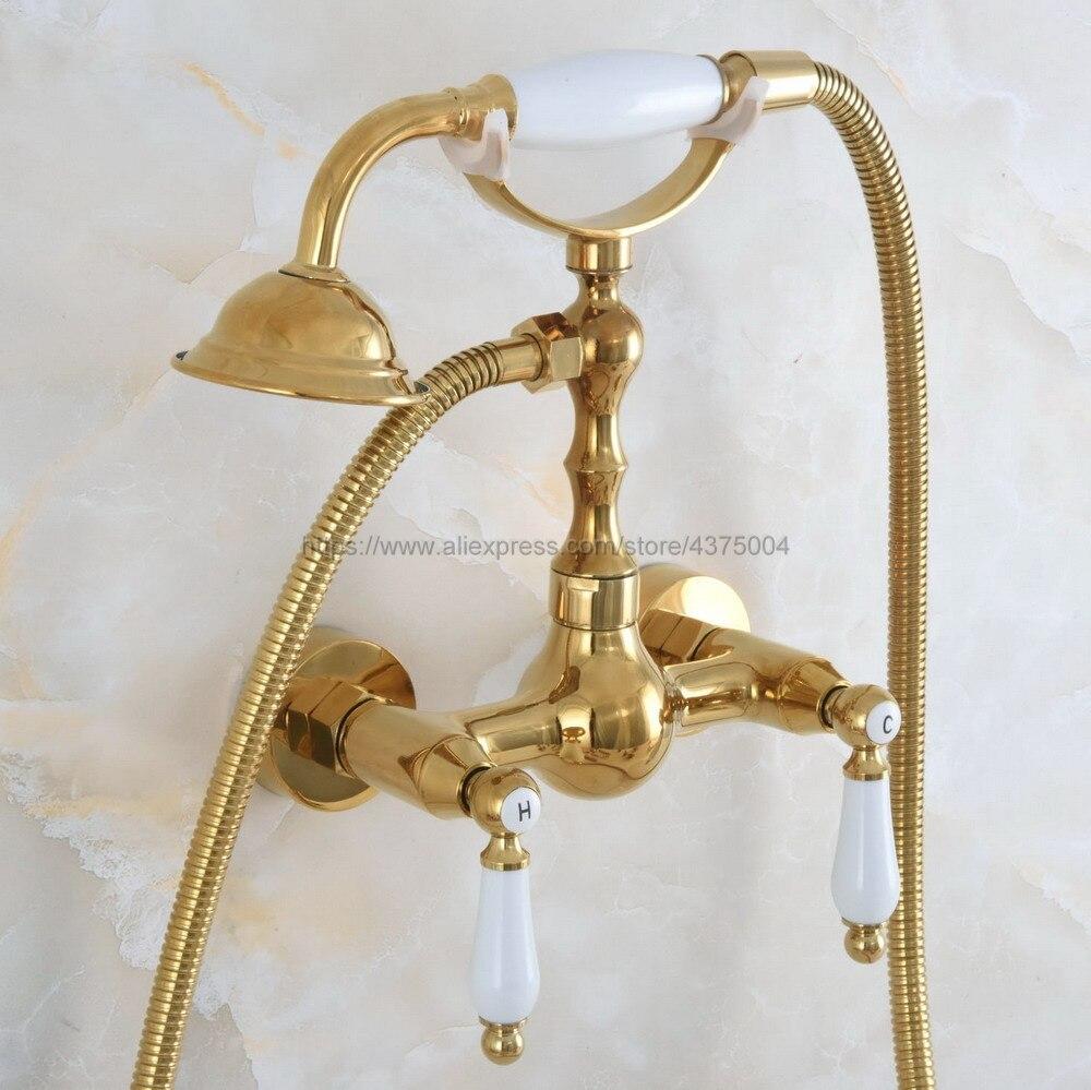 الحائط الذهب اللون النحاس حمام الحنفيات الحمام خلاط الحنفية رافعة مع اليد دش رئيس صنبور دش مجموعات Nna835