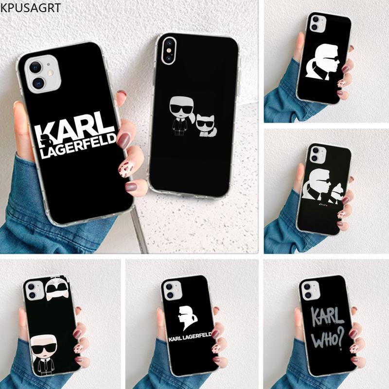 Lagerfeld marca diseñador de silicona negro Funda de teléfono para iPhone 11 pro XS MAX 8 7 6 6S Plus X 5S SE 2020 XR cubierta