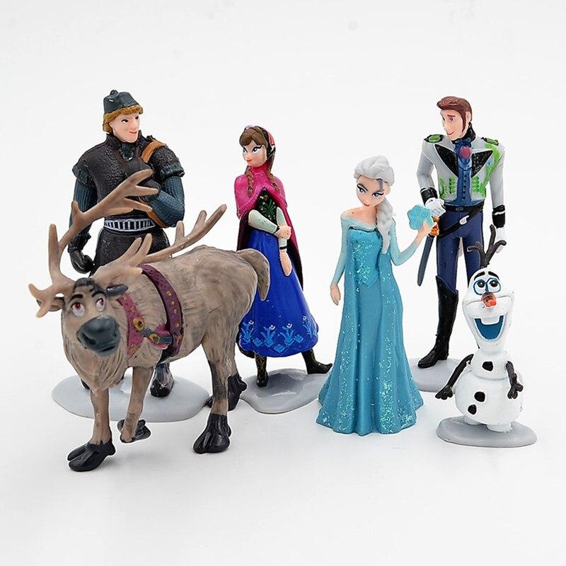 Disney Frozen 6 Pcs/Set 6-11cm Princess Anna Elsa Kristoff Sven Olaf PVC Action Figures Model Dolls Collection Birthday Gift Toy недорого
