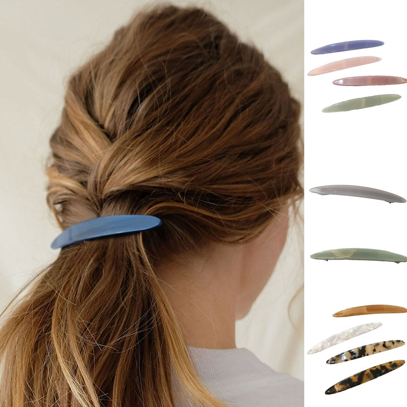 Фото - 1Pcs Retro Acetate Geometric Hair Clip Fashion Willow Leaf Shaped Hairpins Automatic Spring Hairpin Barrettes Hair Accessories geometric spring