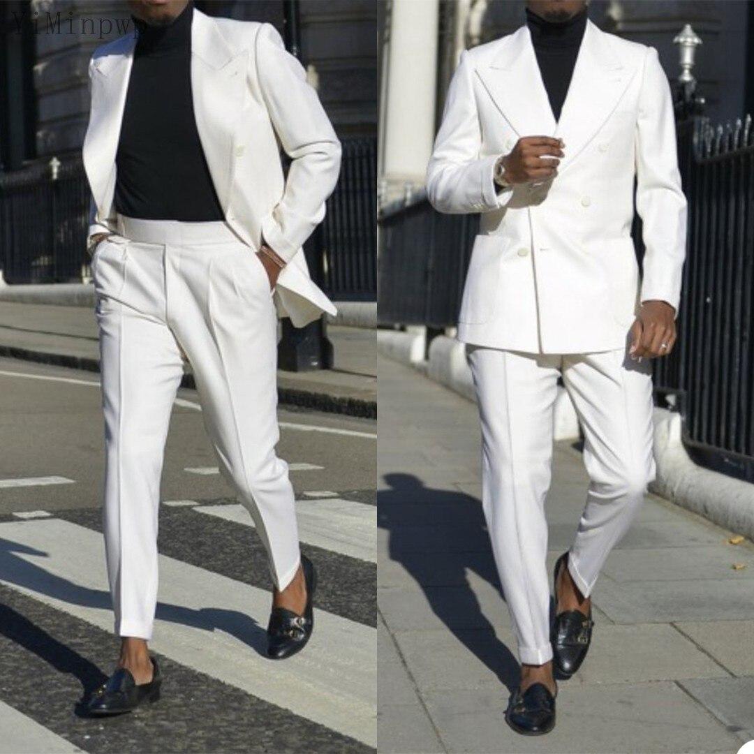 YiMinpwp الأبيض الرجال الدعاوى 2 قطعة بلغت ذروتها التلبيب سترة مزدوجة الصدر الرجال البدلات الرسمية العريس بدلة الزفاف سترة + بانت