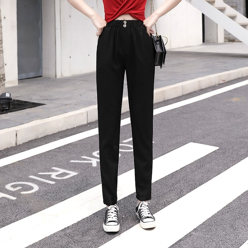 ICE Cotton Linen Pant Summer New Casual Pants for Women 2021 Loose Slimming High Waist Thin Cropped